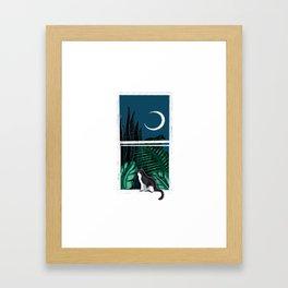 Pip the Cat Under a Crescent Moon Framed Art Print