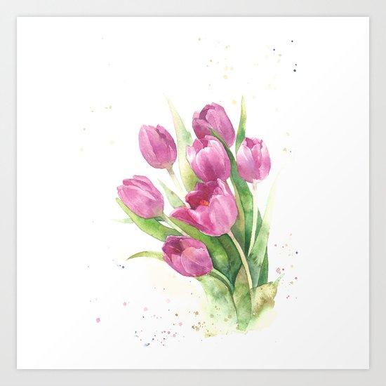Watercolor bouquet of pink tulips Art Print