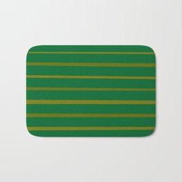 Emerald Green and Honey Gold Thin Stripes Bath Mat