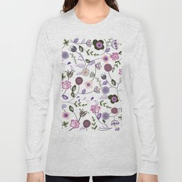 Colorful Abstract Flowers Pattern Long Sleeve T-shirt