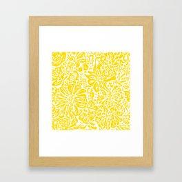Gen Z Yellow Marigold Lino Cut Framed Art Print
