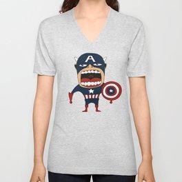 Screaming Captain America Unisex V-Neck