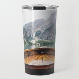 Mountain Lake with natural wood boat Travel Mug