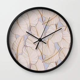 Colocasia leaves gold pattern  Wall Clock