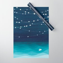 Garlands of stars, watercolor teal ocean Wrapping Paper