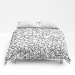Field of daisies - gray Comforters