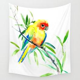 Sun Conure Parakeet, tropical yellow green bird decor Wall Tapestry
