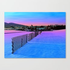 Fences on a winter sundown Canvas Print