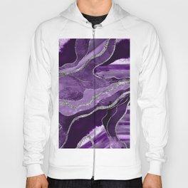 Purple Marble Agate Silver Glitter Glam #1 (Faux Glitter) #decor #art #society6 Hoody