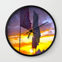 LINDISFARNE MUSIC FESTIVAL Flags In Sunset Wall Clock