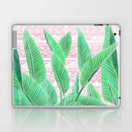 Summer green watercolor tropical leaf white pink aztec geometric pattern Laptop & iPad Skin
