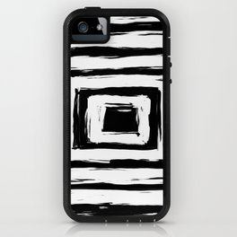 Minimal Black and White Square Rectangle Pattern iPhone Case
