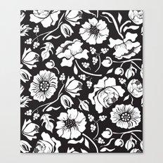 Black Russian Floral Canvas Print