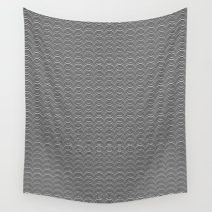 Black and White Scallop Line Pattern Digital Graphic Design Wall Tapestry