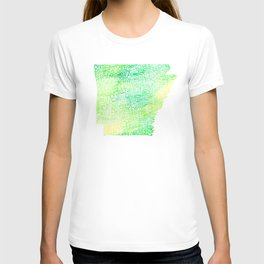 Typographic Arkansas - Green Watercolor map T-shirt