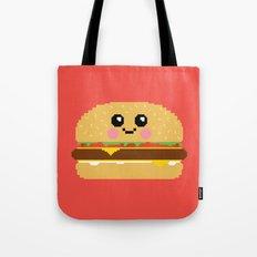 Happy Pixel Hamburger Tote Bag