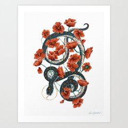 Let Go, Let Grow – Teal Snake in Red Poppies Art Print