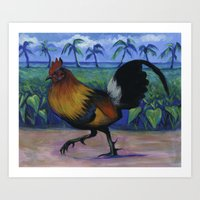 Maui Rooster Art Print