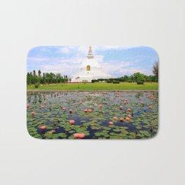 World Peace Pagoda with Lotus Flowers Bath Mat
