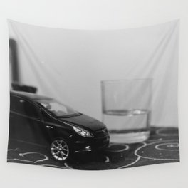 little driver and it's tiny ocean, toys landscape, urban toys Wall Tapestry