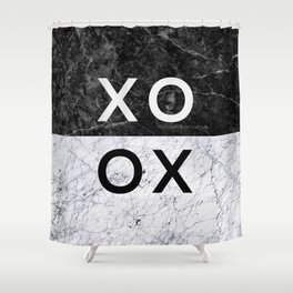 Love Quote Black and White Marble Shower Curtain