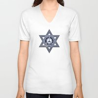 israel V-neck T-shirts featuring Israel Peace Symbol - 032 by Lazy Bones Studios