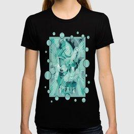 Dove With Celtic Peace Text In Aqua Tones T-shirt
