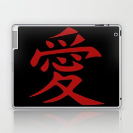 The word LOVE in Japanese Kanji Script - LOVE in an Asian / Oriental style writing. - Red on Black Laptop & iPad Skin