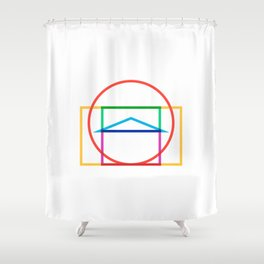 Minmal Pantheon color Shower Curtain