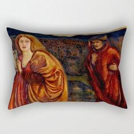 """Edward Burne-Jones """"Merlin and Nimue from Le Morte d'Arthur"""" Rectangular Pillow"""