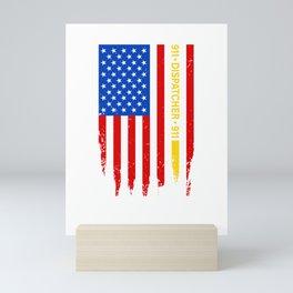 Dispatcher Security Guard Us Flag Thin Yellow Line Mini Art Print