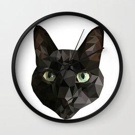Low Poly Black Cat Wall Clock