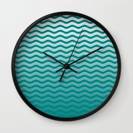 Teal and White Faded Chevron Wave Wall Clock
