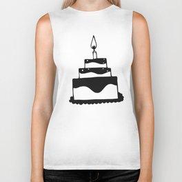 Monochrome birthday cake Biker Tank