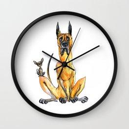 Great Dane and Chihuahua Wall Clock