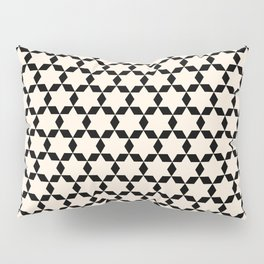 Star Tiles Geometric Pattern in Almond Cream and Black Pillow Sham