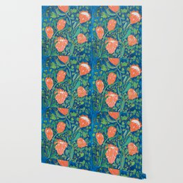 Coral Proteas on Blue Pattern Painting Wallpaper