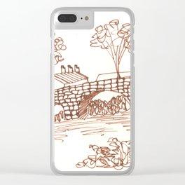 Stone Bridge  Line Art Clear iPhone Case