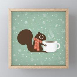 Cute Squirrel Coffee Lover Winter Holiday Framed Mini Art Print