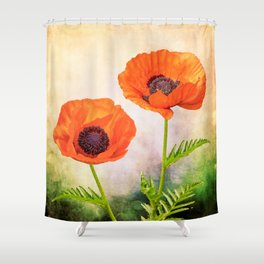 Two beautiful poppies with textures Shower Curtain