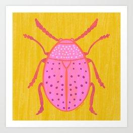 Pink Beetle Art Print