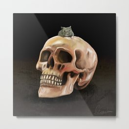 Little mouse and skull Metal Print