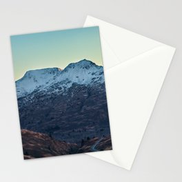 Sunset on a Snow Covered Mountain Photography Print Stationery Cards