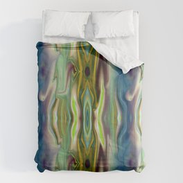 Marbled Agate - green, gold, blue Comforters