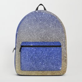 Modern sky blue faux gold ombre glitter Backpack