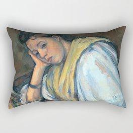 1895 - Paul Cezanne - Young Italian Woman at a Table Rectangular Pillow