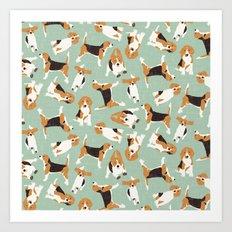 beagle scatter mint Art Print