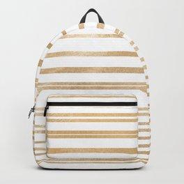 Elegant white gold striped geometric pattern Backpack