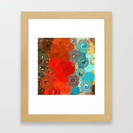 Turquoise and Red Swirls Framed Art Print
