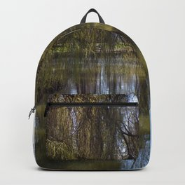 Old Weeping Willow Tree Standing Next To Pond Backpack